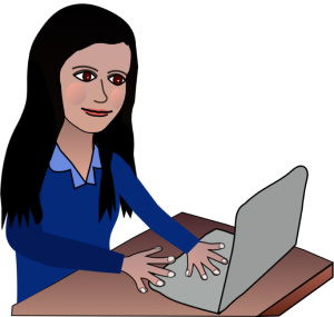 Cartoon avatar Roslyn Green on computer